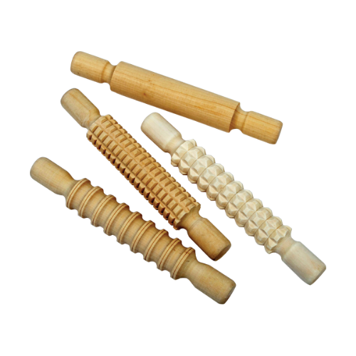 Wooden Textured Rolling Pins 4pk